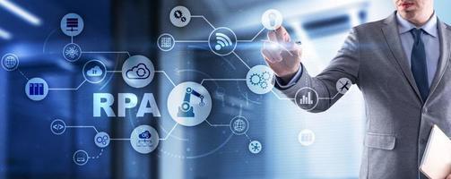 rpa. concepto de automatización de procesos robóticos en pantalla virtual foto