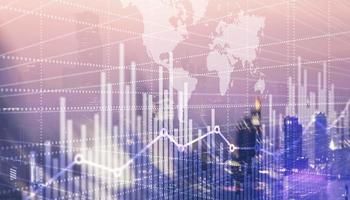 Abstract stock market bar graph on world map background photo