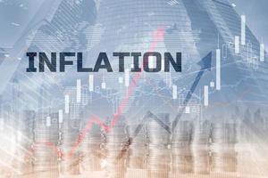 concepto de control de la inflación y la economía mundial foto