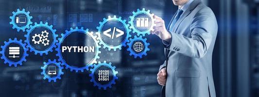Python high level programing language. Communications Technology concept photo
