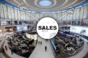 concepto de descuento de venta. ventas de inscripción en el fondo de la tienda borrosa. foto