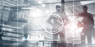 Illustration, 3D. Display interface intelligence dashboard and charts. Financial key performance indicators. photo