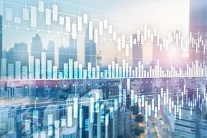 Business concept with Candle stick graph chart of stock market investment trading and blur office background. photo
