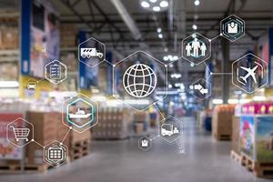 Logistics and transportation concept on supermarket background. photo
