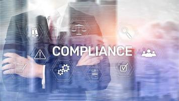 Compliance diagram with icons. Business concept on abstract background photo