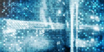 Digital background matrix information technology and internet concept. photo