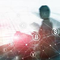 bitcoin de doble exposición y concepto de blockchain. economía digital y comercio de divisas. foto