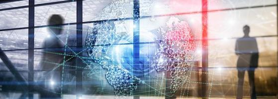 3D earth hologram, Globe, WWW, Global Business and Telecommunication. photo