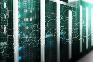 Gears mechanism, digital transformation, data integration and digital technology concept photo