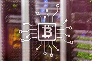 bitcoin, concepto de blockchain en el fondo de la sala de servidores. foto