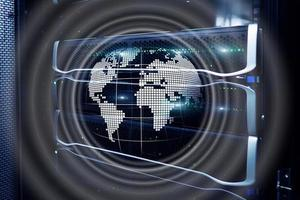 Planet Earth Hologram Globe Global communication World Wide Business concept photo