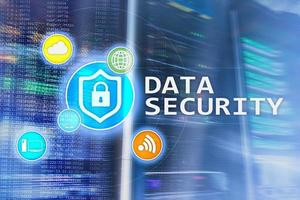 Data security, cyber crime prevention, Digital information protection. Lock icons and server room background. photo