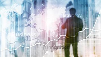 negocio resumen antecedentes doble exposición gráfico, diagrama y diagrama. mapa mundial y. concepto global de comercio financiero y negocios. foto
