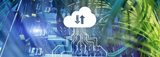 CLoud server and computing, data storage and processing. Internet and technology concept. photo