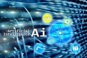 ai, inteligencia artificial, automatización y concepto moderno de tecnología de la información en pantalla virtual. foto