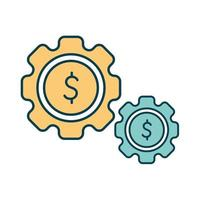 gears with one symbol of dollar in it vector