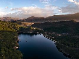 Lake Grahovo, lake in Niksic municipality, near the town of Grahovo in southwestern Montenegro. Arial view by drone. photo