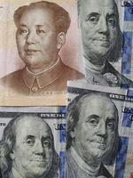 exchange value of american dollar money and chinese currency photo