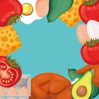 marco de comida sana vector