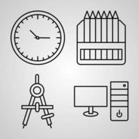 conjunto simple de iconos de línea de vector de papelería