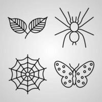 Nature Symbol Collection On White background Nature Outline Icons vector