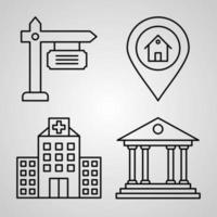 Set of Thin Line Flat Design Icons of Real Estate vector