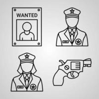 Set of Thin Line Flat Design Icons of Police vector
