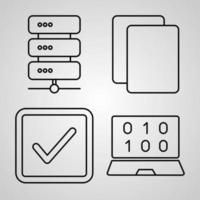 conjunto de iconos de línea de interfaz de usuario aislado en símbolos de contorno blanco ui vector