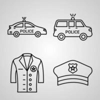 Police Line Icon Set Collection of Vector Symbol in Trendy Outline Style