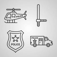 Outline Police Icons isolated on White Background vector