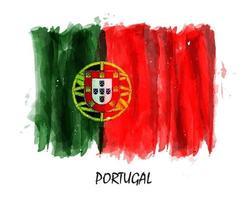 bandera de portugal pintura acuarela realista. vector. vector