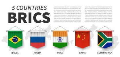 BRICS . Association of 5 countries . 3D realistic pennant hanging design . White isolated background and country map . Vector .