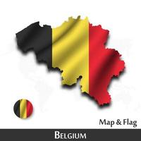 Belgium map and flag . Waving textile design . Dot world map background . Vector