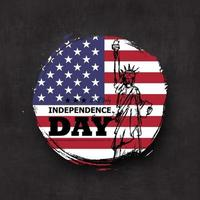 4th of July independence day of USA . Grunge circle shape with america flag and statue of liberty drawing design on chalkboard texture background . Vector