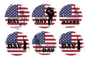 4th of July independence day of USA . Set of various grunge circle shape with america flag and statue of liberty drawing design . Elements vector