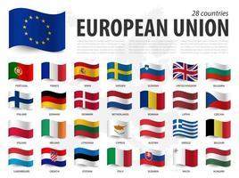 European union flag  EU  and membership on europe map background . Waving flag design . Vector .