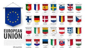 European union flags and membership . 3D realistic pennant hanging design . White isolated background and europe map . Vector .
