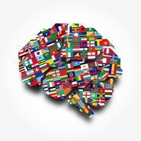 World flags and brain . Creative idea concept . Flat design . Vector .