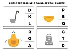 Worksheet for kids. Find the beginning sound. Kitchen utensils. vector