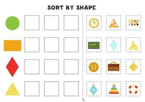 Sort by shape. Educational game for learning basic shapes. vector