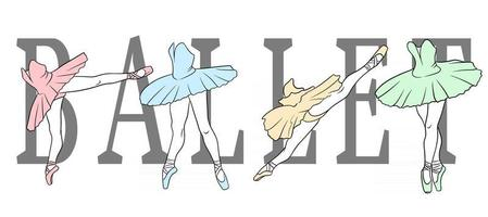 Ballet set. Ballerina in pointe shoes and a tutu. Dancer's legs. Line art. vector