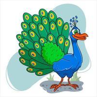 carácter animal pavo real divertido en estilo de dibujos animados vector