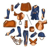 Big set of equipment for the rider and ammunition for the horse illustration in cartoon vector