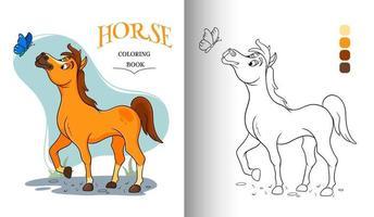 Carácter animal divertido caballo con mariposa en estilo de dibujos animados página de libro para colorear vector
