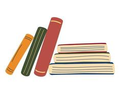 Stack of books. Vertical and horizontal books. World book day. Set of hand drawn educational. School archive and bookshop. The concept of knowledge and the love of reading. Vector cartoon illustration
