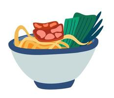 Ramen noodles soup. Asian and japanese traditional food. Chinese chicken or beef noodle soup with nori. Fast food. Vector cartoon illustration