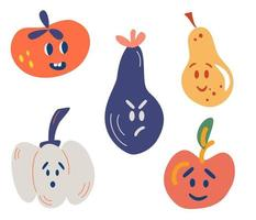Vegetables and fruits with funny faces. Tomato, eggplant, apple, pear, pumpkin. Funny, Angry, Surprised. Food concept. For the supermarket. Vector cartoon smiley face fruit and vegetable characters