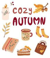Cozy Autumn items. Herbal tea, pumpkin pie, jazz record, book, knitted socks, candle. Idea of coziness and comfortable lifestyle, winter and autumn mood. Hygge hand drawn vector illustration.