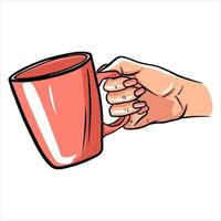 Cup with tea in hand. A fragrant cup of tea for breakfast. A restaurant. Cartoon style. vector