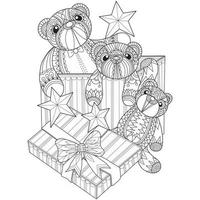 Three teddy bears in box hand drawn for adult coloring book vector